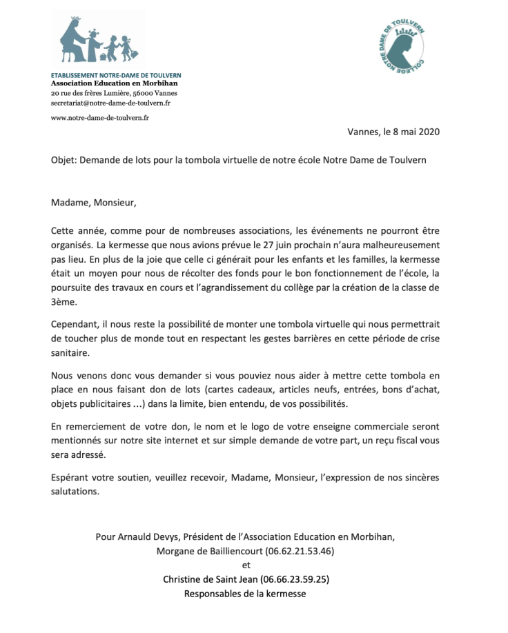 lettre aux entreprises Tombola